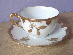 Antique AK Limoges France tea cup and saucer gold by ShoponSherman