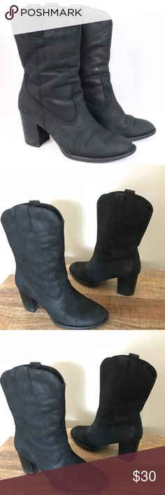 Born  Black Leather Boots Size 9 Born  Black Leather Boots Size 9 4 inch heel Born Shoes Ankle Boots & Booties