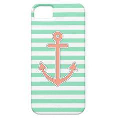 Mint Stripes Peach Anchor Nautical Cover For iPhone 5/5S #iphone #iphonecase #iphonecover #tech #nautical #anchor #sailor #stripes #sea #mint #peach #pastel