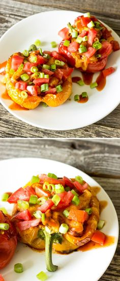 Easy Chicken Taco Stuffed Peppers -Stuff sweet peppers with taco seasoned chicken, top with cheese, and roast until soft.  Then top with your favorite taco toppings.  #healthy #recipes