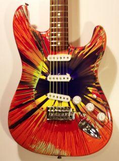 Rare 2003 Fender Stratocaster Splattercaster Spin Art electric guitar