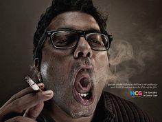 Criança fuma através de pai em anúncio do Hospital de Câncer da Índia