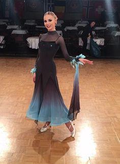 Black and teal blue fade standard ballroom dress. Latin Ballroom Dresses, Ballroom Dancing, Latin Dresses, Ballroom Costumes, Dance Costumes, Baile Latino, Dance Wear, Jazz Dance, Tango Dance
