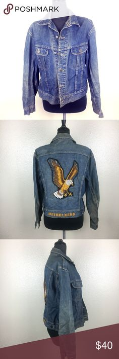"VTG LEE Grunge Eagle Patch Trucker Denim Jacket VTG-LEE-Mens-Blue-Grunge-Eagle-Patch-Trucker-Denim-Jacket Size: No size tag - based on measurements may fit a Large Length: 23"" Chest (pit to pit doubled): 45"" Waist (seam to seam at waist doubled): 40"" Condition: Gently used with light/normal wear. Discoloration throughout. Has writing on the inside of the jacket, that in my opinion, adds to the grunge look. Back eagle patch has some loosening of seams, but is all still in tact as shown…"