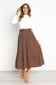 Harajuku Pleated Skirt Spring NewComing Printed Pattern High Elasticity Pleated Skirt High Street ALine MidCalf Size S Color brown Maxi Skirt Outfits, Long Maxi Skirts, Modest Outfits, Modest Fashion, Skirt Fashion, Fashion Outfits, Pleated Midi Skirt, Maxi Skirt Outfit Summer, Long Skirt Outfits For Summer