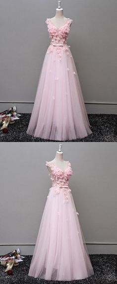 Pink lace long prom dress,v neck tulle long prom dress,Formal Women Dress,830335 #prom #dress #fashion #promdress #partydress #formaldress #homecomingdress #cheapdress