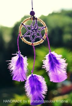 Sweet purple dreamcatcher.Handmade by me.Sweet diy.You can order it by sending me an email : xrikonstantopoulou@hotmail.gr Or dm me on instagram : xrikonstantopoulou