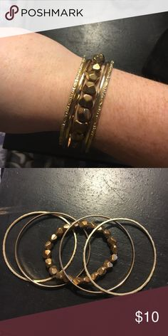 Gold bangles 5 in total. Not real gold. In great condition! Jewelry Bracelets