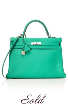 35cm Menthe Clemence Leather Kelly by Vintage Hermès | Moda Operandi