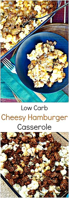 Low Carb Hamburger Casserole Made With Cauliflower Instead Of Pasta And Seasoned With Taco Spices, And Then Baked With Cheddar Cheese Hamburger Spices, Hamburger Casserole, Taco Spice, Pasta, Cheddar Cheese, Cauliflower, Tacos, Low Carb, Baking