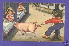 S5178   Margaret Boriss postcard, Pig tries   food
