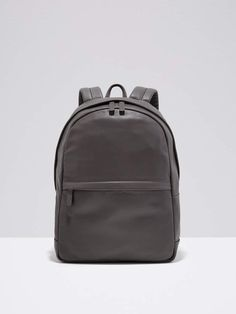 Frank and Oak Leather Backpack in Grey Leather Design 0bc1384ab6fc8