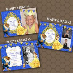 BELLE Beauty and the Beast Birthday Party Invitations Photos Printable Uprint Digital Printed by KDesigns2006 on Etsy