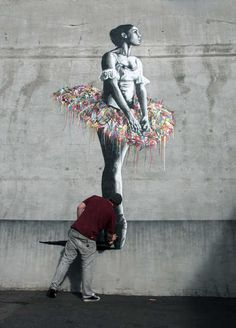Norwegian stencil artist Martin Whatson at work