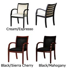 @Overstock - Welcome a comfortable addition to your office or reception area with this set of two leather and wood guest chairs available in various color combinations. These chairs feature a sturdy wooden frame, soft leather seat, and a beautiful shiny finish.http://www.overstock.com/Office-Supplies/Mayline-Mercado-Series-Wood-and-Leather-Ladder-Back-Chairs-Set-of-2/7031395/product.html?CID=214117 $663.99