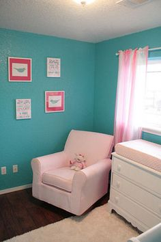 Nursery Reveal: Turquoise Aqua and Pink Baby Girl Fantasy..I would like this with a brighter pink!