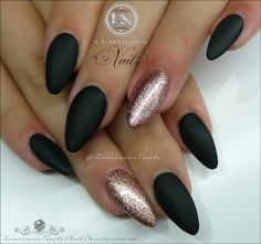 Matt Black & Rose Gold... Acrylic & Gel Nails