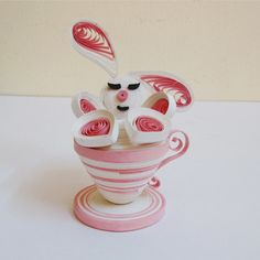 Quilling Paper Art :Bunny in a Teacup by PaperHouseUSA on Etsy