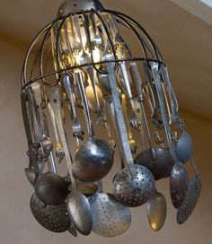 Lampshade made from old utensils