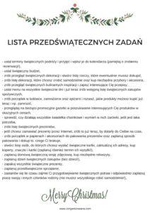 Lista przedświątecznych zadań do wydruku
