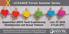 Let the Summer of Research Roll On! •	Let the summer of research roll on! Submit your questions now to resources@nsvrc.org and see your answers live July 27th 2-3 p.m. ET #ExploreResearch #Prevention #LGBTQ #Youth #Housing #Homelessness #EndViolence