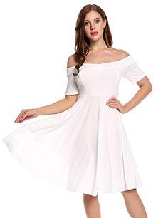 5bdb828cf4a7 Meaneor Donna Vestiti Senza Spalline Elegante Spalla di Parola Abito a  Pieghe Abiti di Rondine Vestito
