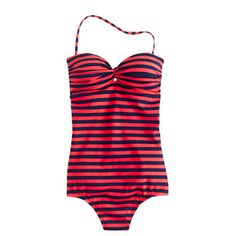 J Crew Stripe bandeau tank... I think this is the best one piece swimsuit that I've seen so far. I wish they had it in blue and gray.
