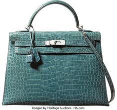 Hermes 32cm Blue Jean Porosus Crocodile Sellier Kelly Bag withPalladium Hardware. H Square, 2004. ...