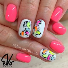 Fun Neon Crazy Nails, Fancy Nails, Cute Nails, Pretty Nails, Neon Nail Art, Neon Nails, Pink Nails, Color Nails, Summer Nails Neon
