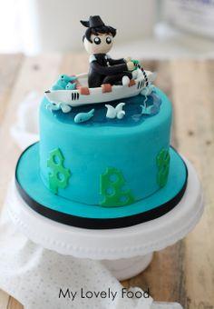 Tarta pesca para celebración de cumpleaños.