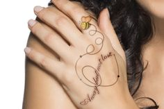 Cute bee tattoo with trails and quote on hand