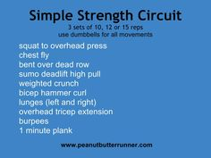 simple dumbbell strength circuit that can be done at home or at the gym with video demonstration of all exercises