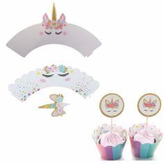 Nydelige Enhjørning Cupcake Wrappers og Toppers. Hver pakke inneholder 12 wrapper og 12 topper.Velg mellom 3 forskjellige varianter.