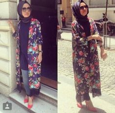 Hulya Aslan kimono Hijab Style,Hulya Aslan hijab fashion looks http://www.justtrendygirls.com/hulya-aslan-hijab-fashion-looks/