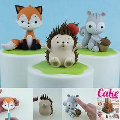 Muñequito Woodland Cake, Woodland Party, Fondant Cake Toppers, Fondant Cupcakes, Cupcake Toppers, Fondant Animals, Animal Cakes, Fondant Decorations, Fondant Tutorial