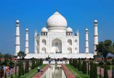 MARVEL AT THE TAJ MAHAL Where: Agra, India This monument of love was built by the Mughal emperor Shah Jahan in the memory of his beloved wife Mumtaz Mahal. The marble mausoleum on the south bank of the Yamuna River is ranked among the New 7 Wonders of the World.
