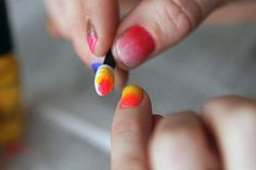 Nails to DIY for: 20 Trendy Tutorials via Brit + Co. With an eyeshadow brush