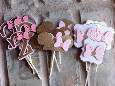 NEW~12 Blush Pink Minnie Mouse Cupcake Toppers~Pink and Gold Party~Gold Glitter…