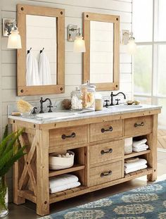 31 Amazing Farmhouse Bathroom Vanity Design Ideas - Vanity Units are a very important part of your bathroom design and, therefore, require careful consideration when you are looking at getting a new bat. Bathroom Vanity Designs, Rustic Bathroom Designs, Rustic Bathrooms, Bathroom Ideas, Bathroom Organization, Bathroom Storage, Modern Bathrooms, Budget Bathroom, Bathroom Layout