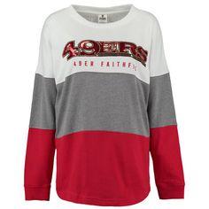 Women's San Francisco 49ers PINK by Victoria's Secret Scarlet/Gray/White Bling Varsity Crew Neck Sweatshirt