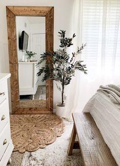 Wood Bedroom, Bedroom Flooring, Modern Bedroom, Bedroom Decor, White Bedroom, Faux Olive Tree, Diy Wood Floors, Hardwood Floor, Wood Framed Mirror