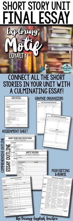 Short story unit culminating essay: Exploring the motif of loyalty across multiple short stories. This is an ideal way to conclude a short story unit and tie the short stories together. High school English. Secondary English.