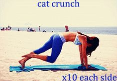 cat crunch - in a plank position, begin with arching your back and pulling your knee towards your face while contracting your abs. fully extend your leg back, using both your abs and your low back moving as slowly as possible. Dancer Workout, Dance Workout Videos, Daily Motivation, Fitness Motivation, Fitness Tips, Health Fitness, Abdominal Exercises, I Work Out, Gym Rat