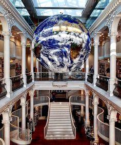 """Sera Su Saglam on Instagram: """"Luke Jerram'ın sanatıyla dünyayı dolaşmasına bayılıyorum! Bükreş'in en güzel kitapçısında dolanırken kafanızı bir kaldırıyorsunuz, o da ne!…"""" Istanbul Turkey, Gate, Clouds, Instagram, Travel, Trips, Viajes, Traveling, Outdoor Travel"""