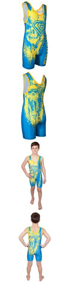 Clothing 79796: Ko Sports Gear S Gold On Blue Skull Wrestling Singlet -> BUY IT NOW ONLY: $49.99 on eBay!