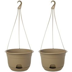 Suncast2 Pack 12 SelfWatering Hanging Planters Indoor Outdoor Flowers Garden USA ** ** AMAZON BEST BUY ** #HangingPlanters Hanging Planters Outdoor, Indoor Outdoor, Outdoor Flowers, Self Watering, Lawn, Planter Pots, Patio, Canning, Plants