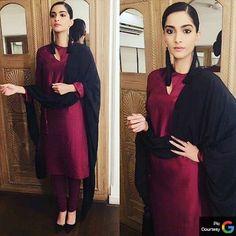 Sonam Kapoor in burgundy churidar suit