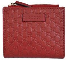 a760891e5ae3 New Gucci 510318 Red Leather Micro GG Guccissima Card Case Bifold Small  Wallet  Gucci
