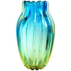Alfredo Barbini Murano Sommerso Blue Yellow Ribbed Italian Art Glass Vase | From a unique collection of antique and modern vases and vessels at https://www.1stdibs.com/furniture/decorative-objects/vases-vessels/