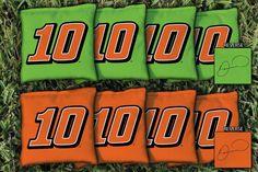 Our NASCAR DANICA PATRICK #10 REPLACEMENT CORNHOLE BAG SET. Get your custom set at victorytailgate.com